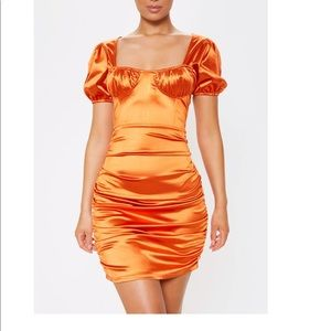 Rust Satin Cup Detail Ruched Bodycon Dress